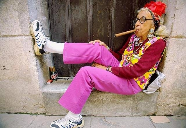 funny old lady smoking a cigar - on death and dying